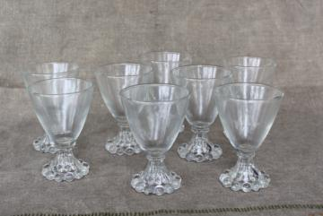 Boopie pattern Anchor Hocking, vintage cocktail glasses, beaded edge footed tumblers