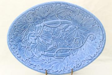 Bordallo Pinheiro Portugal pottery, blue glaze embossed vines grape leaves platter