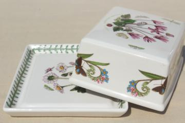 Botanic Garden Portmeirion covered butter dish, plate & cyclamen cover