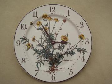 Botanica Villeroy & Boch china plate wall clock