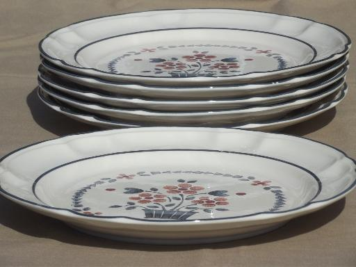 Brambleberry Cumberland flower basket plates, Hearthside Japan stoneware