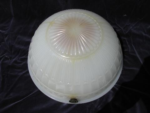 Brascolite antique lighting glass dome hanging lamp shade, early electric ceiling light fixture