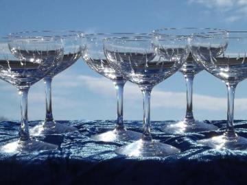 Bridal Shower Fostoria champagne glasses, vintage set of 6