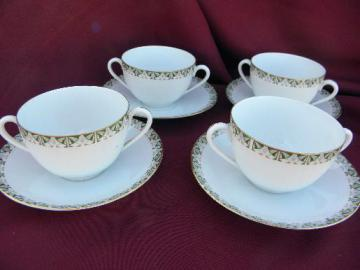 Bristol - art deco vintage china handled cream soup bowls and saucers