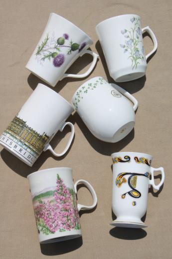 British Isles coffee cups & tea mugs, lot of Scots & Irish porcelain souvenir china