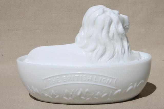 British Lion Antique Vintage Milk Glass Covered Dish