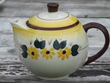 Brown Eyed Susan  china teapot, hand-painted Vernon Kilns Vernonware