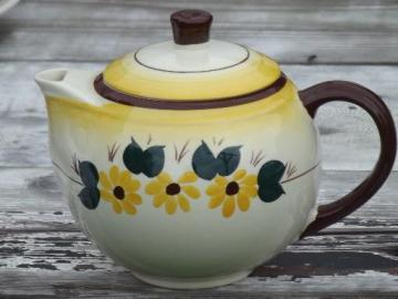 Brown Eyed Susan  china teapot, hand-painted Vernon Kilns Vernonware
