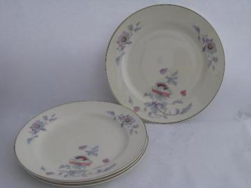 Bryn Mawr floral pattern, vintage Salem china dinner plates, lot of four