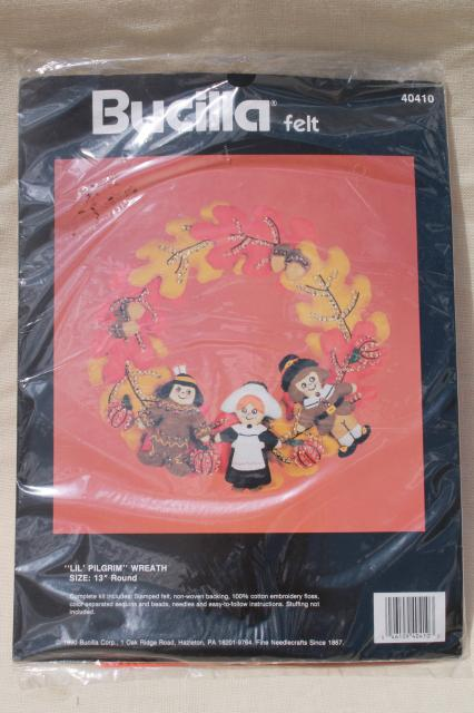 Bucilla felt craft needlework kits, sealed vintage Thanksgiving fall decor wreath projects