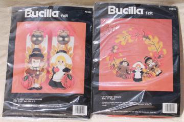 Bucilla felt craft needlework kits, sealed vintage Thanksgiving fall decor wreath projects