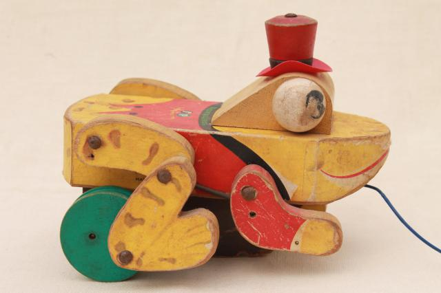 Vintage Toys From The 60s : Buddy bullfrog vintage wood pull toy s early fisher