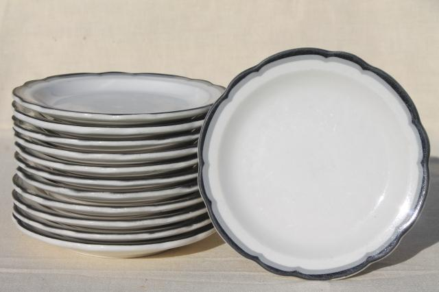Buffalo china vintage railroad / restaurant ware plates white ironstone w/ art deco black u0026 grey : art deco dinnerware - pezcame.com