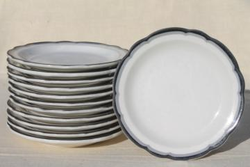 Buffalo china vintage railroad / restaurant ware plates, white ironstone w/ art deco black & grey