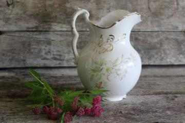 Burford's porcelain vintage water pitcher circa 1900, Victorian transferware china