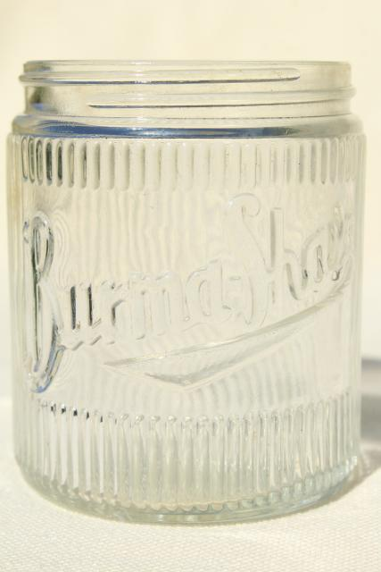 Burma Shave vintage glass jar, Hazel Atlas glass bottle w/ embossed logo