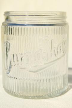 Burma Shave vintage glass jar, Hazel Atlas glass bottle w/ embossed logo