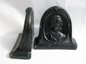 Bust of Lincoln, pair vintage chalkware book ends, painted plaster