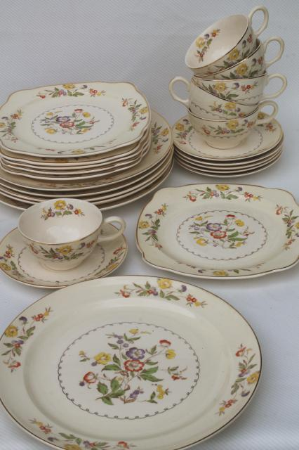 Buttercup Paden City vintage china cups u0026 saucers square plates dinner plates set & Buttercup Paden City vintage china cups u0026 saucers square plates ...