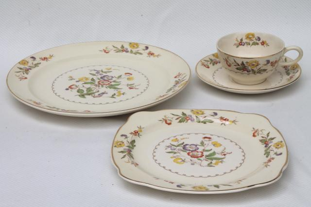 Ercup Paden City Vintage China Cups Saucers Square Plates Dinner Set