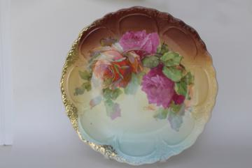 C Wilms painted roses antique vintage china charger plate or large round tra