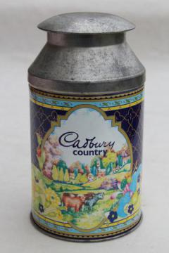Cadbury milk chocolate dairy milk can tin made in England, vintage Cadbury's advertising
