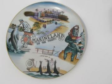 Califoria Marineland souvenir, 50s vintage hand painted Japan china plate