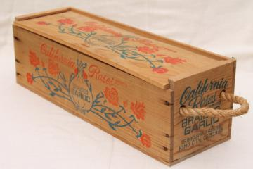 California Roses garlic box, vintage wood packing box fruit crate w/ rope handles