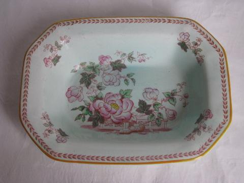 Calyx Ware old antique Adams - England china bowl, peonies w/ laurel border, Metz