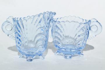 Cambridge Caprice moonlight blue glass cream & sugar set, ice blue colored glass