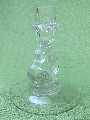 Cambridge keyhole pattern glass candlesticks, candle sticks pair
