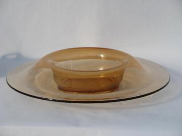 Cambridge topaz colored glass, vintage large round console flower bowl