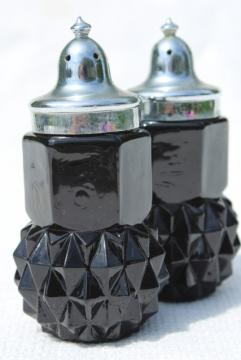 Cameo black glass salt and pepper shakers, vintage diamond point S&P set