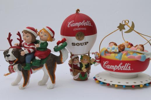 - Campbells Kids Campbell's Soup Christmas Ornaments Lot, 90s Vintage