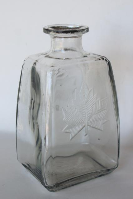 Canada maple leaf vintage embossed glass liquor bottle decanter McNaughton whiskey