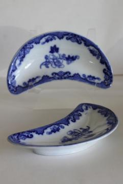 Candia flow blue, antique china bone dishes crescent shaped plates Royal Cauldon
