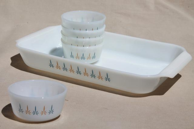 Candle Glow Fire-King milk glass baking pan & custard cups, 1960s vintage