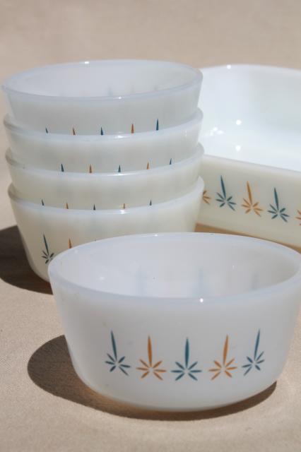 Candle Glow Fire King Milk Glass Baking Pan Amp Custard Cups