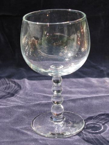 Candlewick beads, set 10 beaded stem wine glasses, Libbey glass