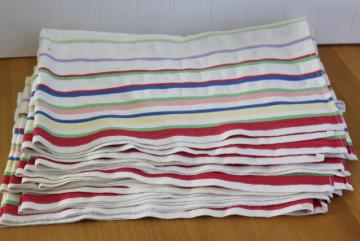 Cannon label cotton dish towels, 1950s vintage red green blue yellow striped kitchen towels
