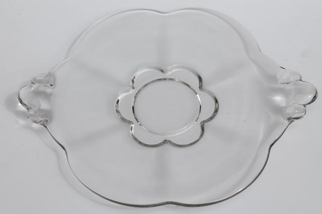 Canterbury Duncan & Miller crystal clear glass cake plate / sandwich tray