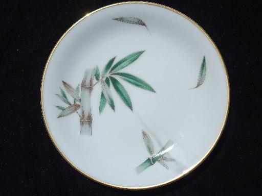 & Canton green bamboo vintage Noritake china 12 bread or dessert plates