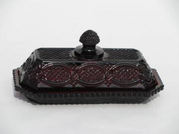 Cape Cod royal ruby red vintage Avon glass covered butter dish