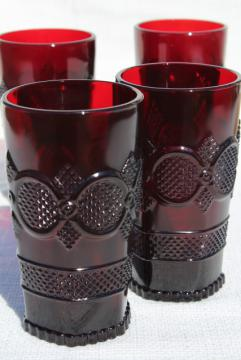 Cape Cod royal ruby red vintage Avon glass flat tumblers, set of 4 drinking glasses