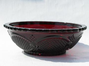 Cape Cod royal ruby red vintage Avon glass, round vegetable or salad bowl