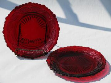 Cape Cod royal ruby red vintage Avon glass salad plates