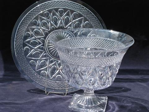 Cape Cod vintage Imperial glass torte plate and large urn bowl vase