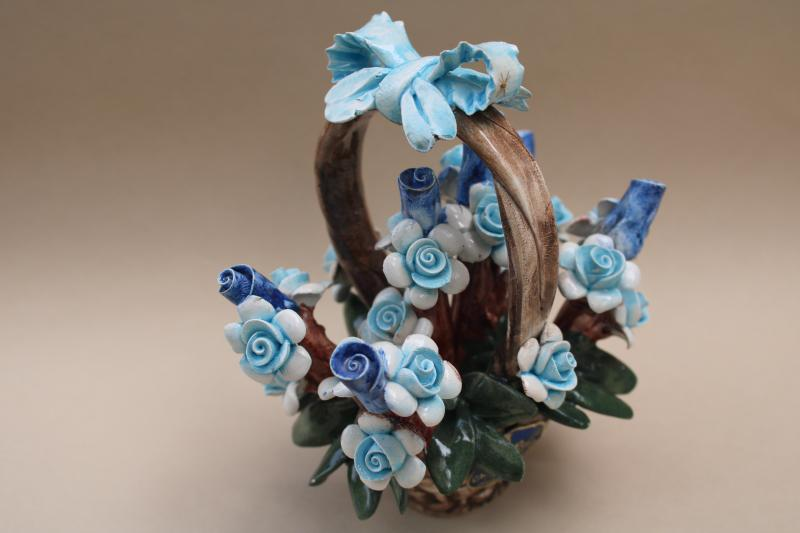 Capodimonte flower basket w/ original label, vintage Italian art pottery
