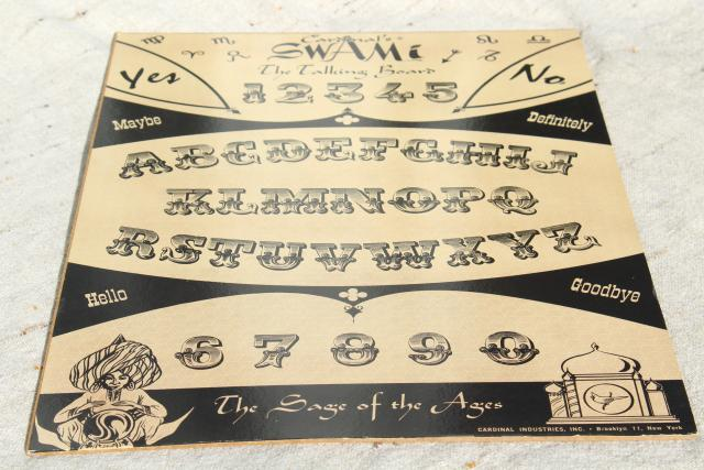 Cardinal's Swami board w/ mystic hand planchette, vintage fortune telling oracle game oujia