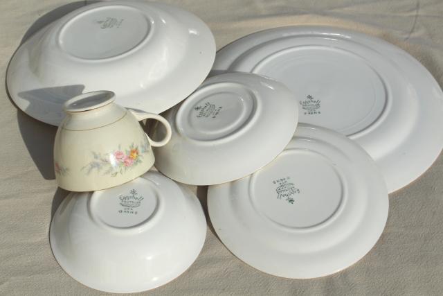 Cashmere floral vintage Homer Laughlin eggshell china dinnerware set for 8 & Cashmere floral vintage Homer Laughlin eggshell china dinnerware ...
